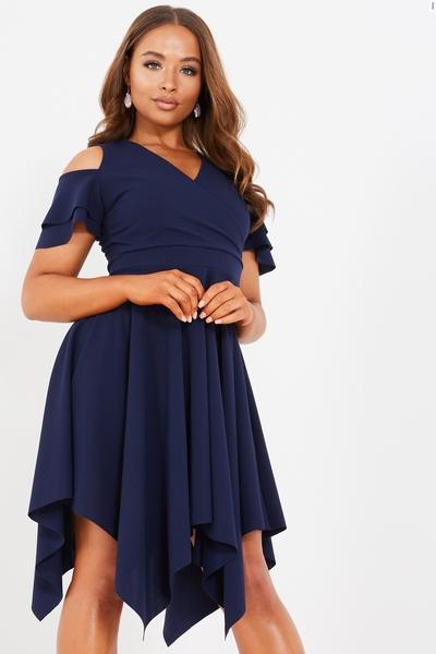Petite Navy Cold Shoulder Dress
